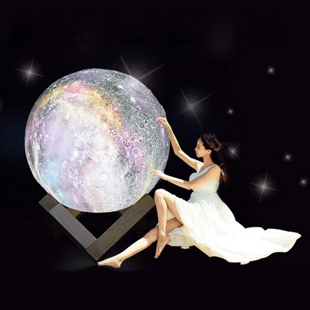 Moon Lamp Personality 3D Printing Creative Lunar USB Charging Light Night Light LED Remote Control Brightness - 4