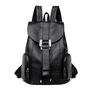 Image 3 - Moda yüksek kaliteli yumuşak deri kadın sırt çantası büyük kapasiteli okul çantası kız için marka omuzdan askili çanta bayan çantası seyahat sırt çantası