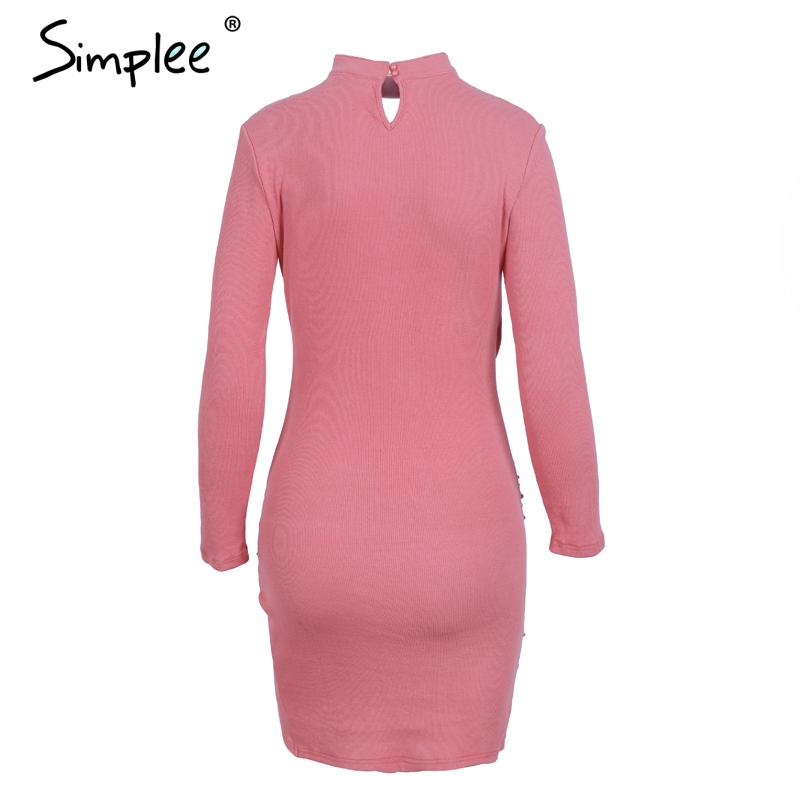 Simplee Sexy halter v neck winter sweater dress women Ruched long sleeve black bodycon dress female Chic party dress autumn 2017