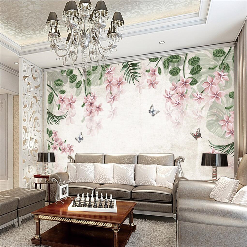 Beibehang retro floral background murals mural wallpapers for Bathroom mural wallpaper
