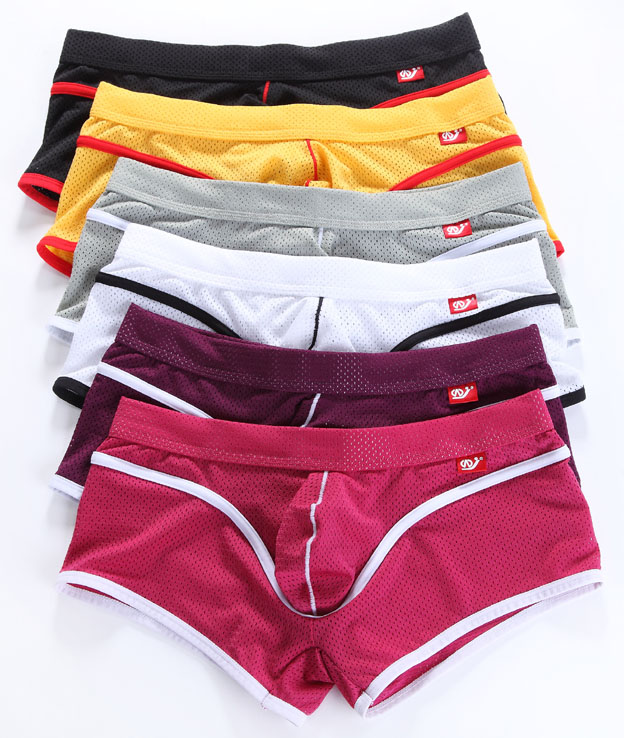 WJ Brand Mens breathable Boxers Shorts Mesh Nylon Sexy Male Underwear Slim Low rise Fashion New List Man Gay Underpants in Boxers from Underwear Sleepwears