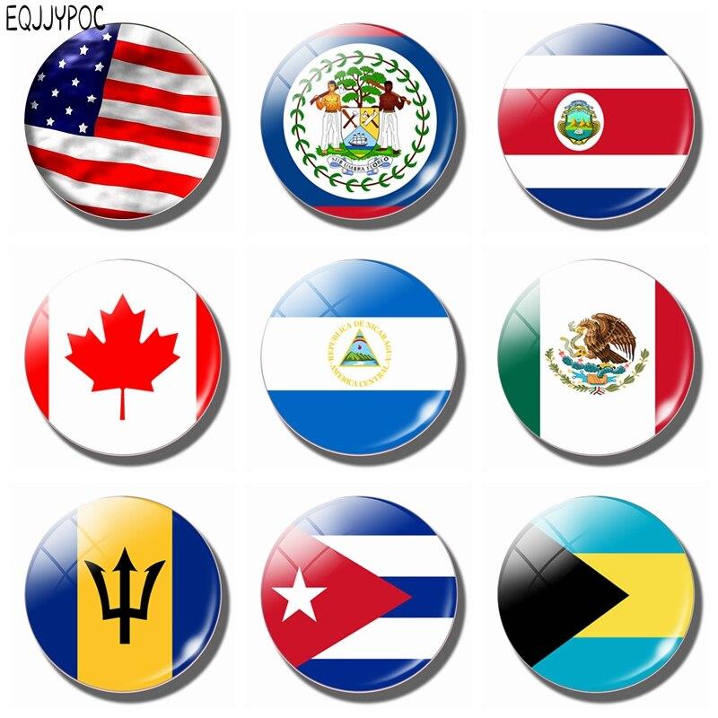 Магнит на холодильник с флагом Северной Америки, наклейки на магните из стекла 30 мм для Канады, Гондураса, Мексики, Кубы, Америки, Доминики, Сент-Китса и невираса