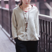Vintage Loose Casual Women Long Sleeve Shirt Blouse Solid Beige Cotton Linen Chinese Style Shirts Quality