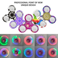 LED Light Rainbow Spinner Hand Finger Plastic EDC Spinner Fidget For Autism And ADHD Relief Focus