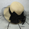 Дамы Вс шляпы Вуаль Сетка Широкими Полями Соломенной Шляпы Открытый Складной Пляж Панама Козырек Шапки ДЛЯ Женщин KLY30