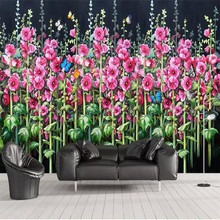 HD hemp flower butterfly background wall professional production mural, wallpaper wholesale, custom poster photo