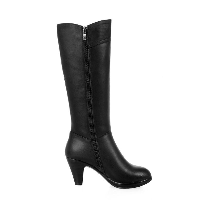 Rond Hnew Véritable Hiver 2018 Asumer Qualité Noir Bout En Haute Mi Cuir Pour Adulte Mode Confortable Femmes mollet Bottes OdT4xF4w