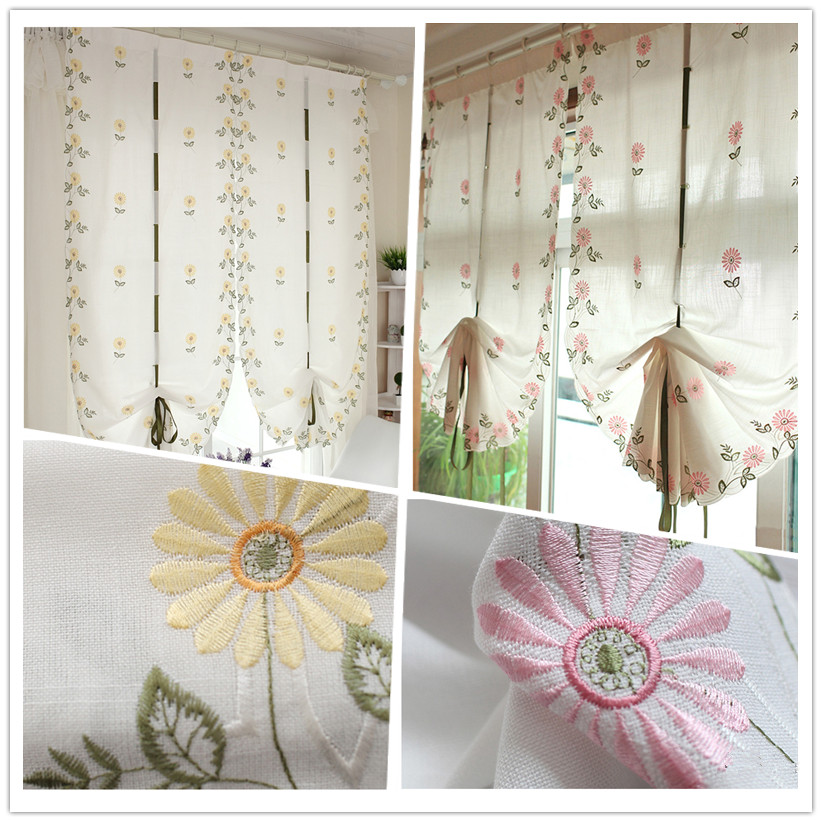 Exquisite embroidery craft Roman blinds. Pink, yellow daisy flower pattern decorative curtain.50% shading rate curtain.