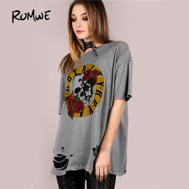 9e3d323f1d5b ROMWE Oversized Royalty Graphic T-shirt Grey Tee Women Short Sleeve Casual  Floral Print Tops Fashion O Neck Cotton T-shirt