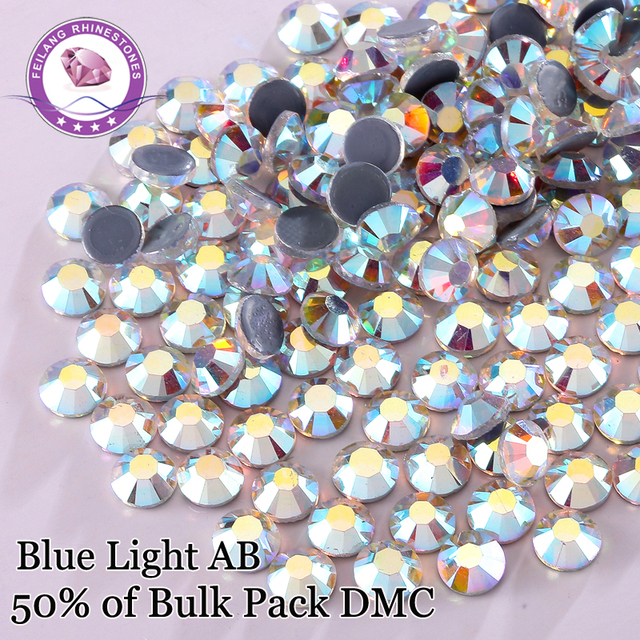 High Quality Blue Light AB DMC Hotfix Rhinestones Flatback Glass Stone For Clothing Accessories DIY Decoration