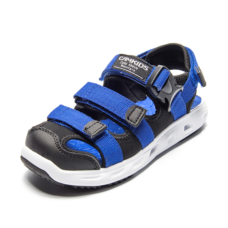 Camkids Boys Summer Sandals Blue Outdoor Sports Beach Shoes Breathable School Shoes For Kids Rubber Protective Children Footware