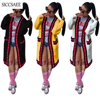 Big Pockets White Striped Print Cardigan Long Sleeve Capes For Women Casual Manteau Pearl Beading Poncho Loose Plus Size XXXL