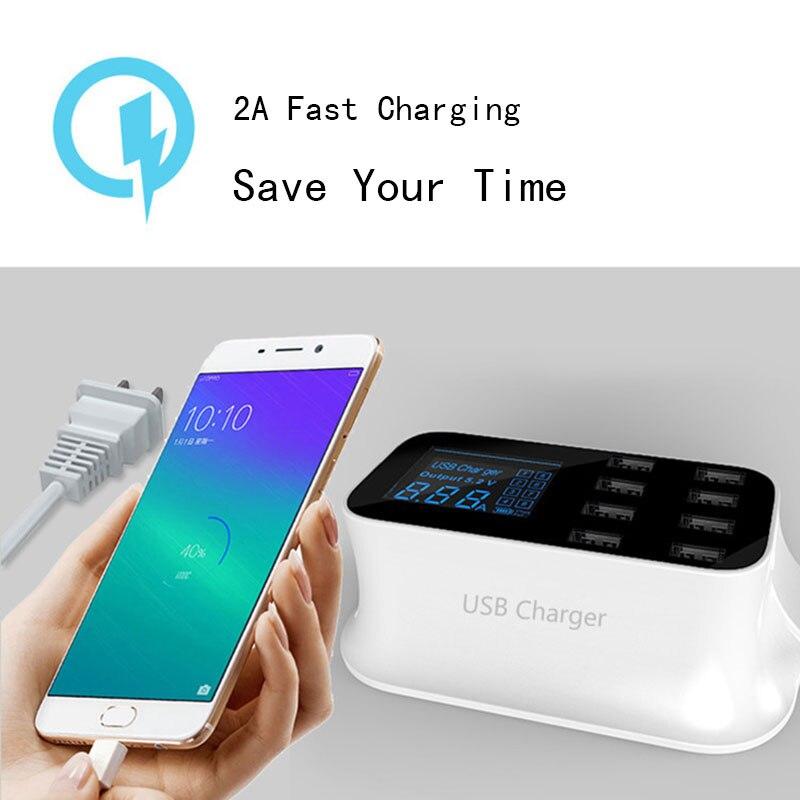 Thbelieve EU UK US Plug chargeur de téléphone portable LCD 8 USB HUB chargeurs universels Station de Charge Multiple prise murale bande de Charge