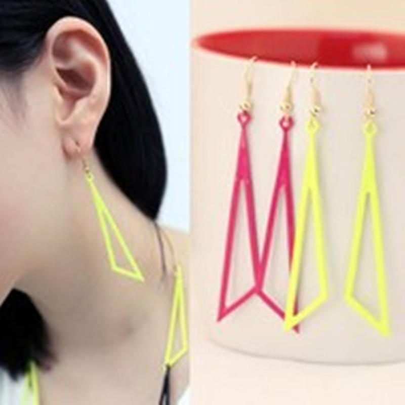E155 New style Free shipping Jewellery Wholesale Europe Hollow Fluorescent Color Geometric Triangle Earrings for women ...