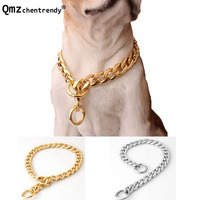 Top Quality 11mm Wide 12 34 Inch Gold Silver Tone Double Curb Cuban Pet Chain Link