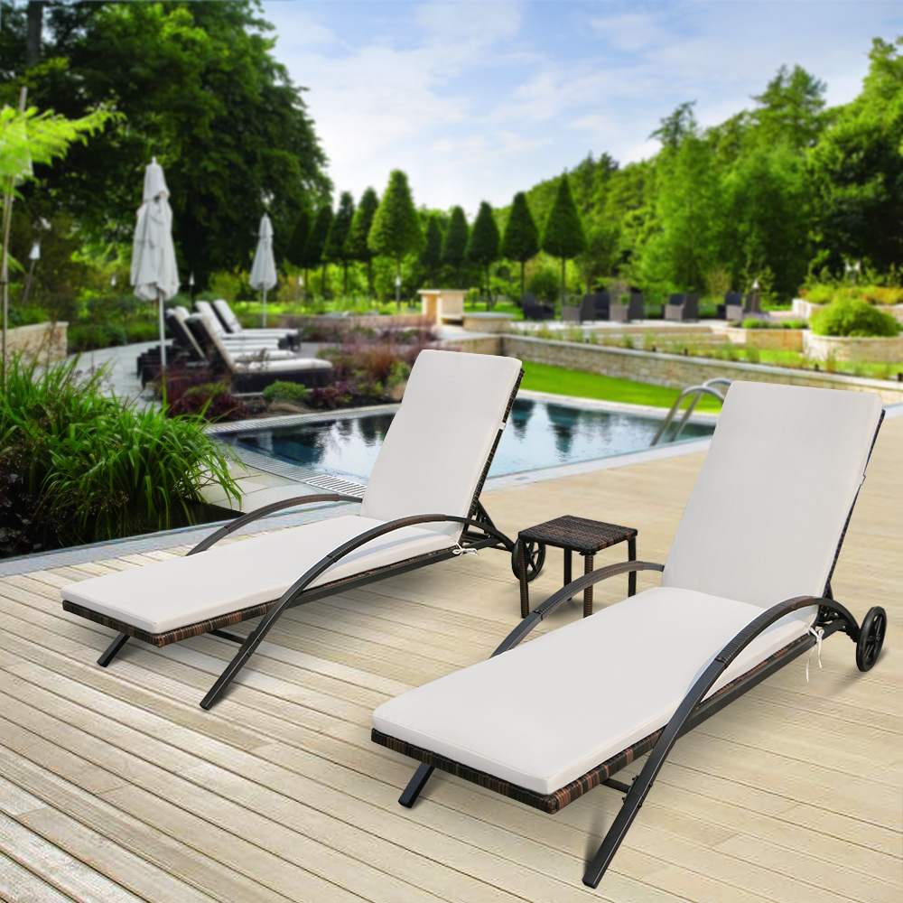 Miraculous Us 205 3 25 Off Ikayaa 3Pcs Rattan Wicker Patio Chaise Lounge Chair Set Furniture Adjustable Back Outdoor Sun Lounger Set Fr De Stock In Garden Sets Gmtry Best Dining Table And Chair Ideas Images Gmtryco