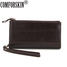 купить 2017 New Arrivals 100% Cow Leather Cowhide Double Zippers Long Men Clutch Purses Large Capacity Men Card Wallets with Hand Strap по цене 1250 рублей