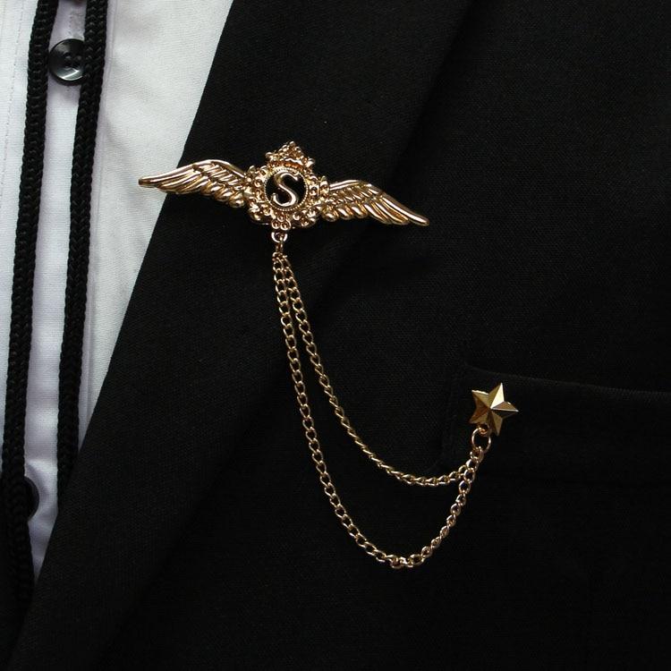Freies Verschiffen Neue Mode Lässig Männer Männlich Europa Und Den Vereinigten Staaten High-end Crown Fringe Corsage Weibliche Engelsflügel Brosche Hell In Farbe