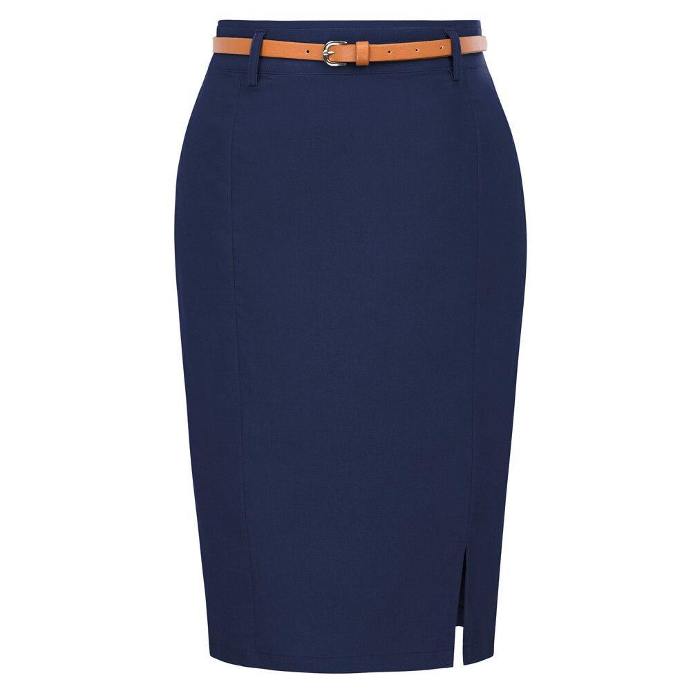 Женская офисная юбка карандаш Kate Kasin, Однотонная юбка карандаш с разрезом и поясом, облегающая юбка в стиле хип хоп, элегантные офисные юбки Юбки      АлиЭкспресс