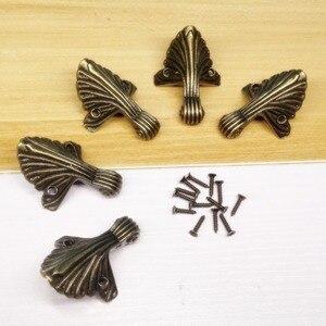 Image 4 - 4 adet/grup 32*44mm kutu bacak koruma köşe parantez dekoratif kutu bacak bakımı Vintage ayaklar mücevher kutusu
