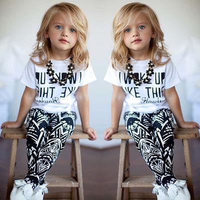 Fashion Cool 2pcs Kids Girls I Woke Up Like This White Tops T-Shirt+Pants Set 2-9Years Oneck a kiss like this
