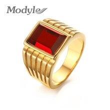 Новинка, большие кольца с красным камнем для Мужчин, Ювелирные изделия, крутая Золотая Большая праздничная бижутерия с кольцами, новые готические мужские кольца