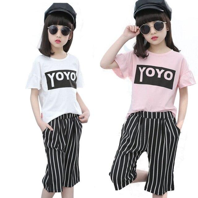 Детская одежда устанавливает лето 2017 девушки Одежда костюм, случайные короткими рукавами футболки + широкие брюки ноги, мода детские Малыш спортивные костюмы