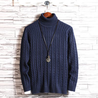 2019 Winter New Fashion Men Turtleneck Sweaters Knitting Pullovers Mens Warm Long Sleeve Sweater Men Pull Homme Plus Size 5XL