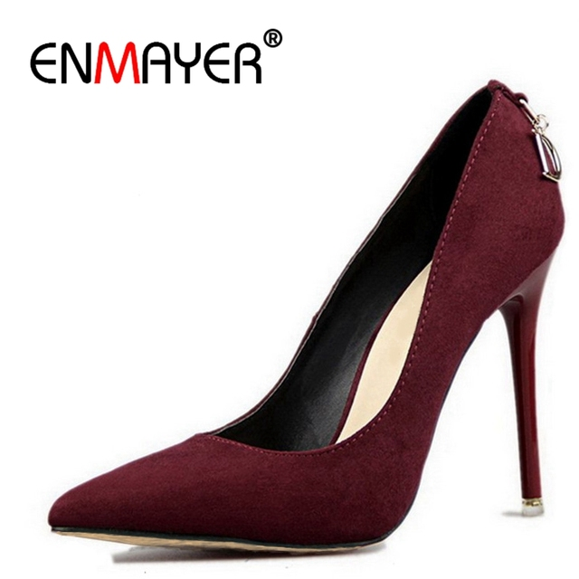 ENMAYER Stiletto Heels Shoes Woman Big Size 2018 Fashion High Heels Women Pumps Classic White Red Beige Sexy Wedding Shoes CR472