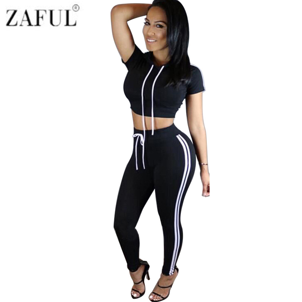 45956fc7cd ZAFUL Women Gym Hooded Sport Suit Running Set Sports Tracksuits Jumpsuit Clothes  Sportswear Fitness Workout Set-in Running Sets from Sports   Entertainment  ...