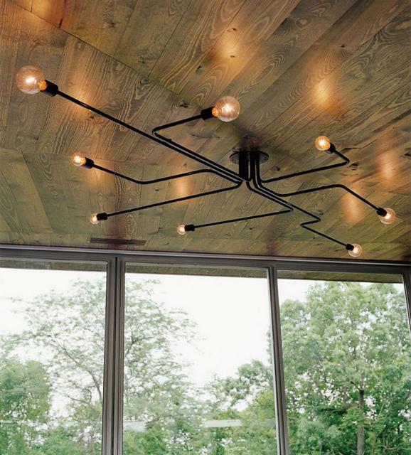 Vintage Pendant Lights Multiple Rod Wrought Iron Ceiling Lamp E27 Bulb Living Room Lamparas For Home