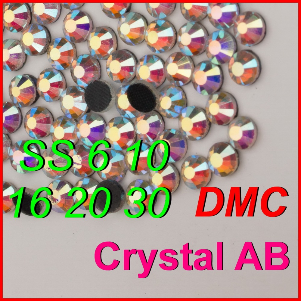 Top Quality ! SS 6 10 16 20 30 Clear Crystal AB Shine Color DMC Hot Fix Rhinestone iron on Stones Jewelry Women Kid DIY Clothes