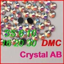 Высокое Качество! SS 6 10 16 20 30 Прозрачного Хрусталя AB Color Shine DMC Исправление Горный Хрусталь железа на Камни Ювелирные Изделия Женщины Kid DIY одежда