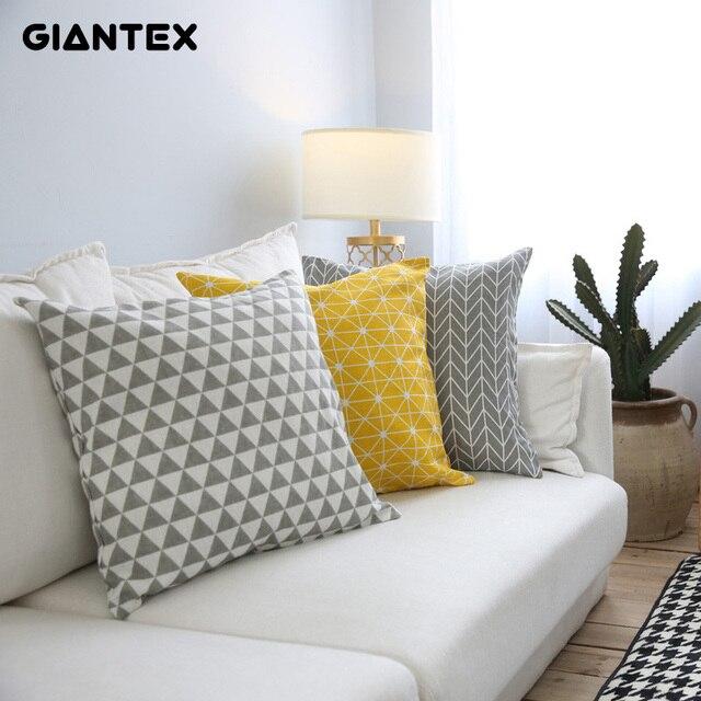 GIANTEX Moderna Semplice di Cotone di Tela Fodere per Cuscini Decorativa Federa