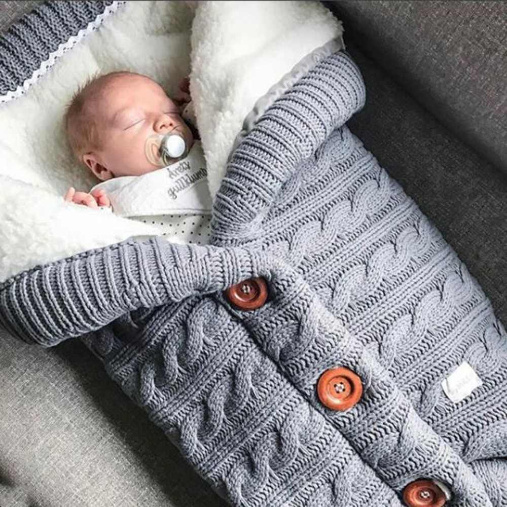 Warm Baby Blanket Soft Baby Sleeping Bag Footmuff Cotton Knitting Envelope Newborn Swadding Wrap Stroller Accessories Sleepsacks