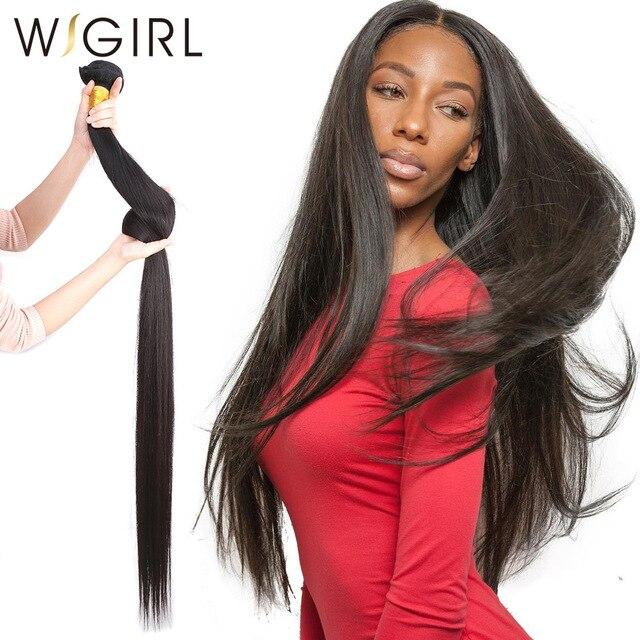 Wigirl 28 30 32 40 дюймов длинные Необработанные индийские человеческие волосы переплетения прямые 3 4 пучка супер двойные нарисованные необработанные натуральные наращивание