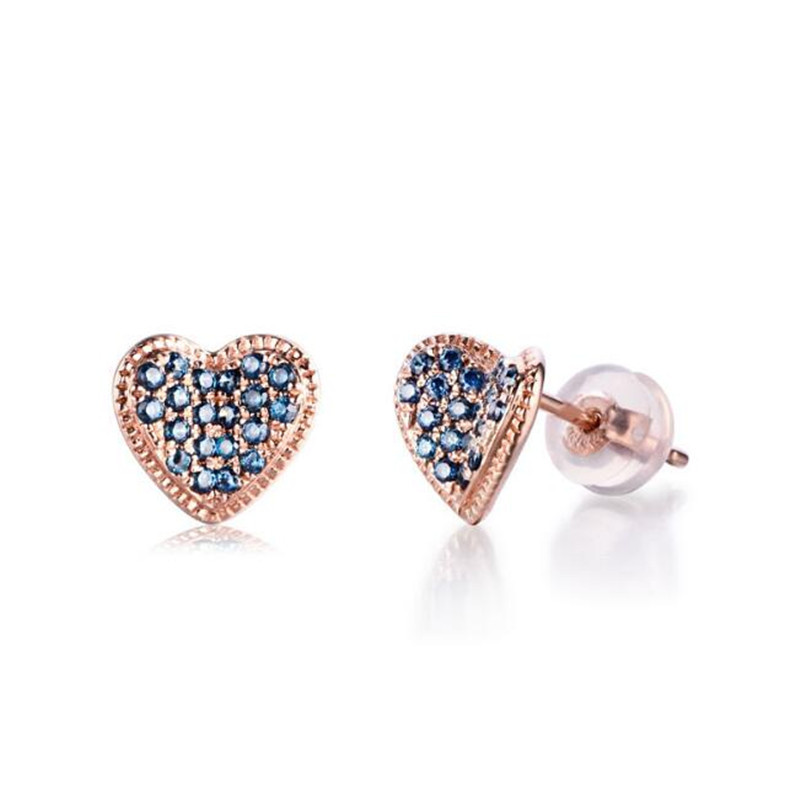 Gold Color 18K Gold Love Heart Design Stud Earrings For Women Pave Setting High Quality Crystal Stud Earring For Women 1.72g pair of stylish rhinestone alloy stud earrings for women