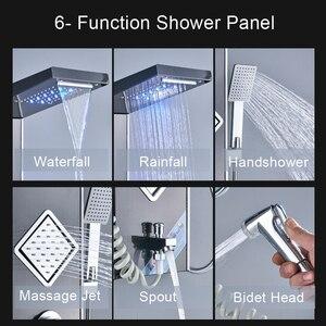 Image 2 - LED ışık şelale yağmur biçimli duş paneli banyo duş musluk sütun sistemi 3 kolları 6 fonksiyonlu duş bataryası bide püskürtücü ile