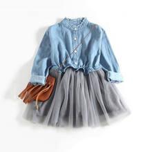 49f8c93e09 New Blue Denim Tulle Dress Kid Baby Girl Long Sleeve Tutu Dress Party  Pageant Toddler Infant Clothes Summer Children Sundress