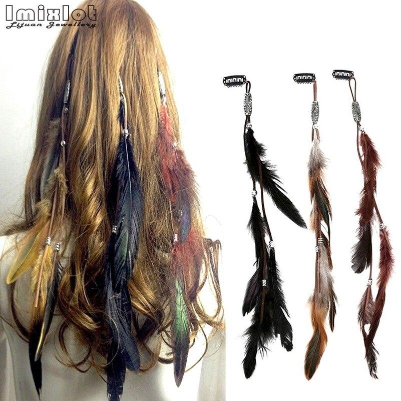 Imixlot Bohemian Fashion Handmade Ethnic Tribal Leather Feather Hairband Hair Hairpin Hair Clip 3 Color Chose JHF0071