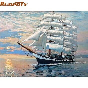 סירת מפרש ציור DIY על ידי מספר מסגרת RUOPOTY מודרני מופשט Handpainted קישוט בית ציור שמן לאמנות קיר תמונה