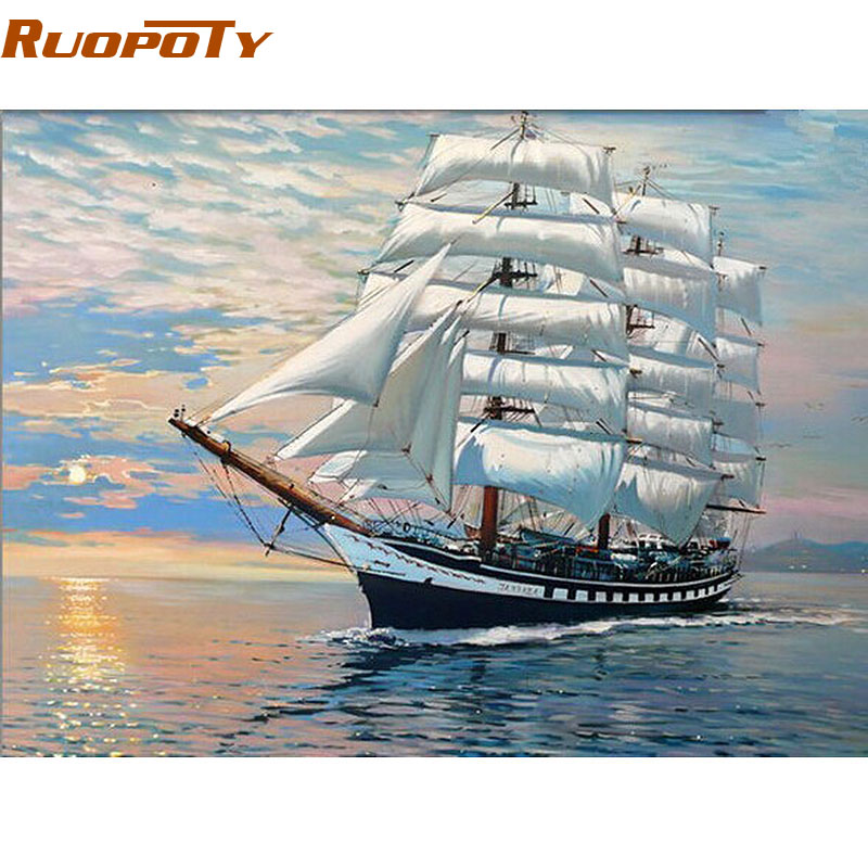 RUOPOTY Frame Sailing Boat DIY Painting By Number Modern Abstract Handpainted Oil Painting Home Decoration For Wall Art Picture
