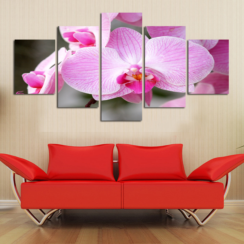 2018 hot sale blooming butterfly Flower painting Abstract modular picture home Decor Oil Painting on canvas 5 panel wall art