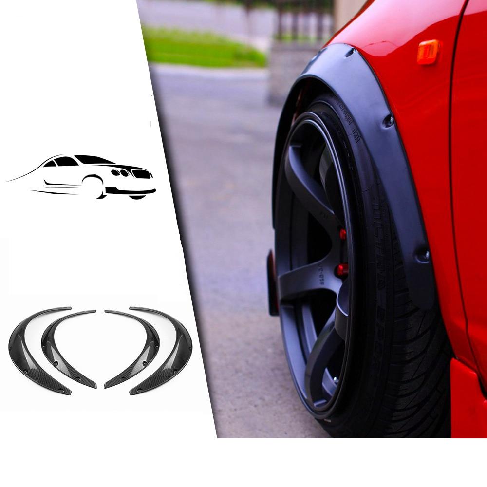 4Pcs Universal Flexible Car Fender Flares Durable Car Arch Wheel Body Eyebrow Protector Kit Mudguards Sticker Trim