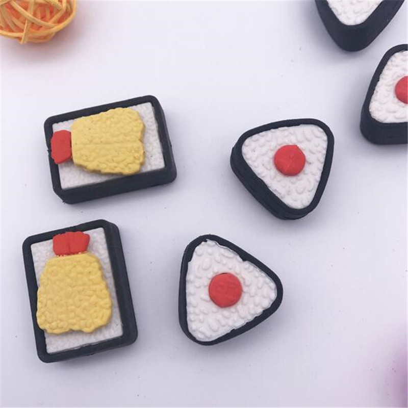 Youe Shone 2pcs Triangle Sushi Styling Rubber Eraser Detachable New Korean Cute Cartoon Rubber Student Stationery For School Kid