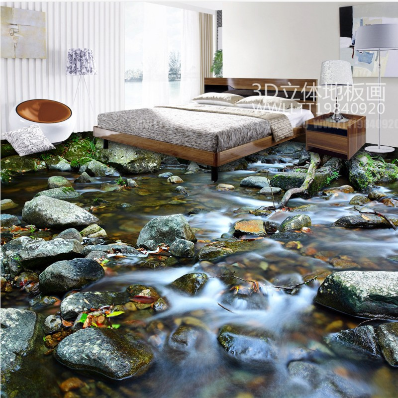 Free Shipping Custom River stone 3d floor paste wallpaper stuido office bedroom decoration floor mural сумка river island river island ri004bwzyz56