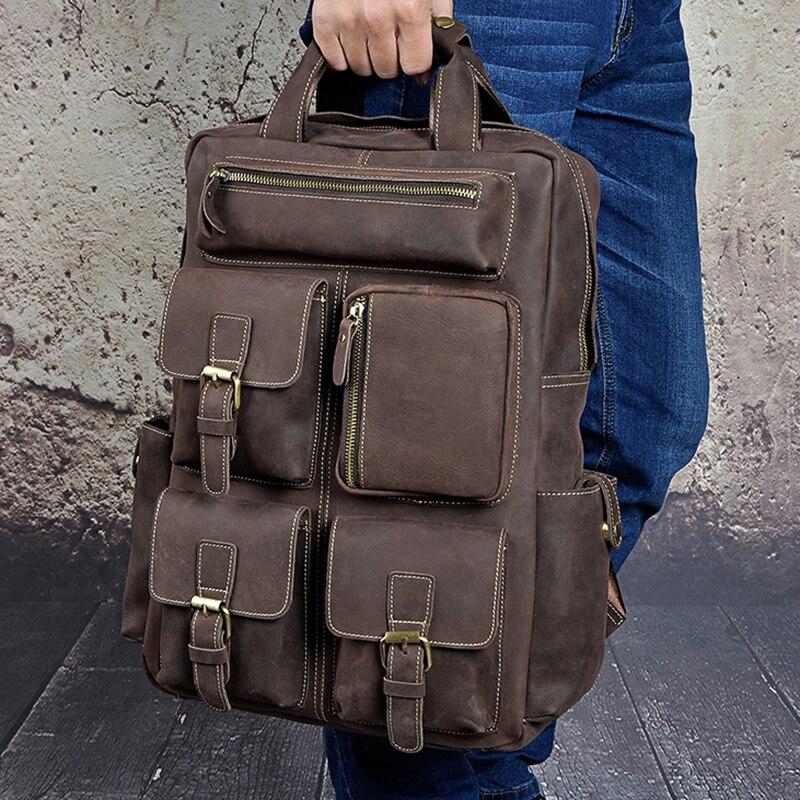 Men Crazy Horse Cowhide Rucksack Daypack Travel Large Capacity Knapsack School Bag Genuine Leather Backpack 14