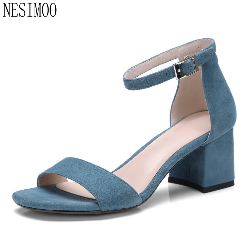 NESIMOO 2018 Summer Women Sandals Shoes Woman Leather Sheepskin Square High  Heel Platform Ladies Wedding Shoes b09c800905e2