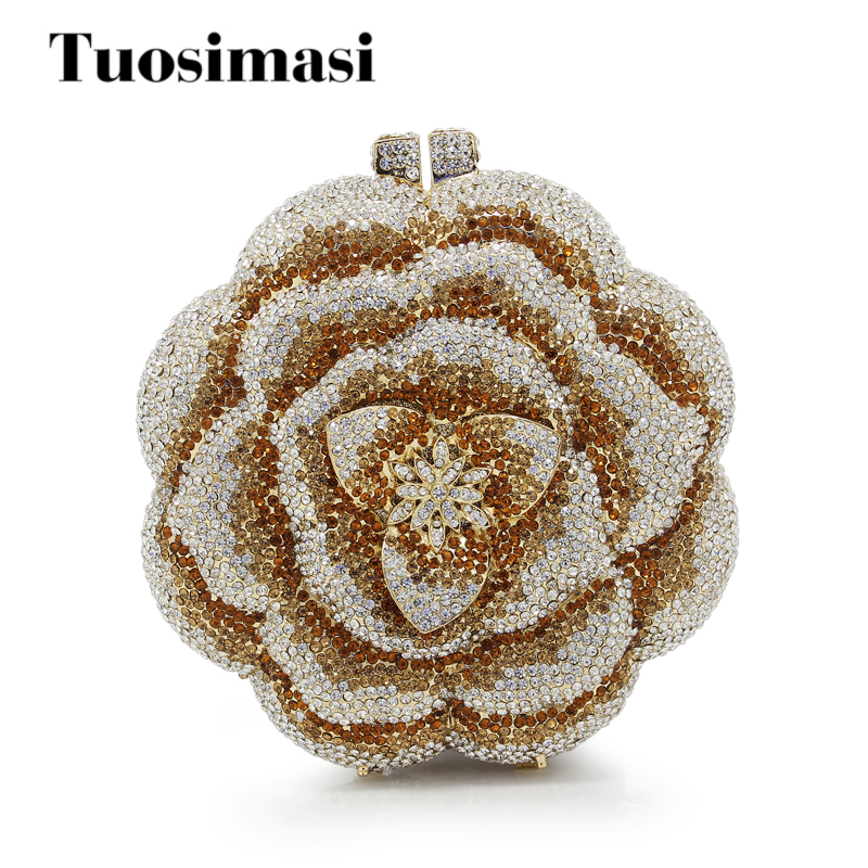Здесь продается  Gold evening clutch bags rose flower shape luxury diamante clutch evening bags crystal wedding party purse(88226-GP)  Камера и Сумки