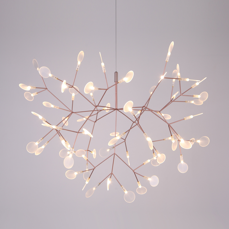 Diameter 72cm Silver Modern Heracleum Tree Leaf Pendant Light LED Lamp Suspension Lamps Living Room Art Bar Iron Restaurant